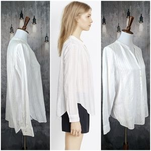 61ef24568bfc97 Vince Tops - Vince Cotton Dobby Shirred-Neck Long Sleeve Blouse